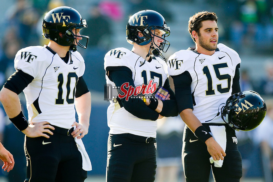 Tanner Price (10), Pat Long (17) and Matt Grassmeyer (15) prior to the game against the Notre Dame Fighting Irish at Notre Dame Stadium on November 17, 2012 in South Bend, Indiana.  The Fighting Irish defeated the Demon Deacons 38-0.  (Brian Westerholt/Sports On Film)