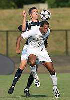 04 September 2009: Matt Armstrong #15 of the University of Notre Dame pushes into the back of Nick Courtney #7 of Wake Forest University during an Adidas Soccer Classic match at the University of Indiana in Bloomington, In. The game ended in a 1-1 tie..