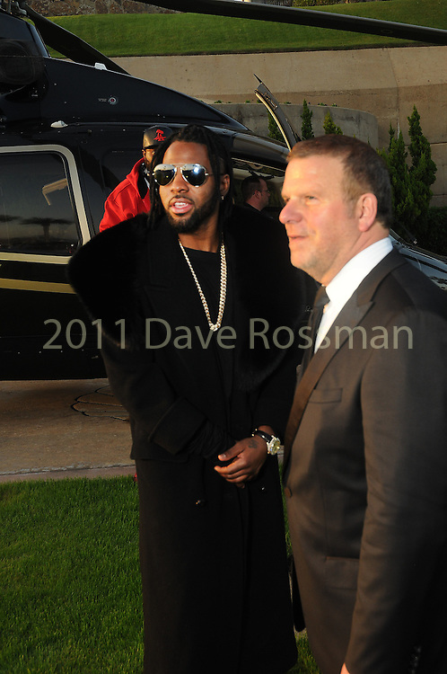 "Tilman Fertitta welcomes Jason Derulo before at the San Luis Salute ""Space Pirates"" VIP reception Friday February 24,2017. (Dave Rossman Photo)"