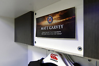 A general view of Matt Garvey's name in the home changing rooms. The Clash, Aviva Premiership match, between Bath Rugby and Leicester Tigers on April 7, 2018 at Twickenham Stadium in London, England. Photo by: Patrick Khachfe / Onside Images