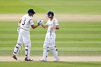 PICTURE BY ALEX WHITEHEAD/SWPIX.COM - Cricket - County Championship Div Two - Yorkshire v Glamorgan, Day 3 - Headingley, Leeds, England - 06/09/12 - Yorkshire's Joe Root (L) congratulates Adam Lyth (R) on his half-century.