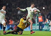 Jonny May of England is tackled by Marika Koroibete of Australia. Old Mutual Wealth Series International match between England and Australia on November 18, 2017 at Twickenham Stadium in London, England. Photo by: Patrick Khachfe / Onside Images