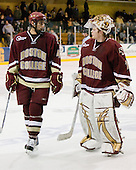 Tommy Cross (BC - 4), John Muse (BC - 1) - The Merrimack College Warriors defeated the Boston College Eagles 5-3 on Sunday, November 1, 2009, at Lawler Arena in North Andover, Massachusetts splitting the weekend series.