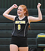 Emily Kaufmann #9 of Wantagh reacts after her team scored a point in a Nassau County Conference A1 varsity girls volleyball match against host Lynbrook High School on Thursday, Sept. 8, 2016. Wantagh won the match 3-1.