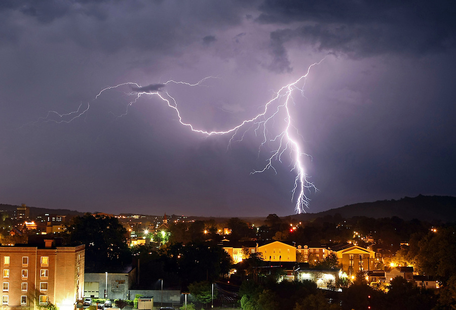 Lightning over downtown Charlottesville, Va. Photo/Andrew Shurtleff