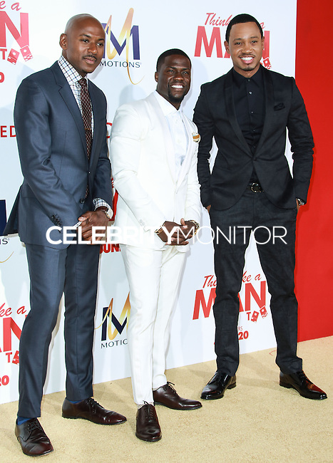 HOLLYWOOD, LOS ANGELES, CA, USA - JUNE 09: Romany Malco, Kevin Hart, Terrance Jenkins at the Los Angeles Premiere Of Screen Gems' 'Think Like A Man Too' held at the TCL Chinese Theatre on June 9, 2014 in Hollywood, Los Angeles, California, United States. (Photo by David Acosta/Celebrity Monitor)