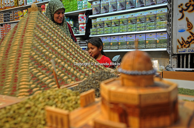 Shopping for spices at a market in the Muslim Quarter of the old city of Jerusalem on June 7, 2008.