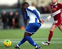 Alex Akrofi of Aveley scores the second goal during Aveley vs Chelmsford City, Buildbase FA Trophy Football at Parkside on 8th February 2020