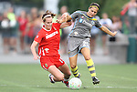 27 August 2011: Philadelphia's Veronica Boquete (ESP) (21) and Western New York's Beverly Goebel (19). Western New York Flash defeated the Philadelphia Independence 5-4 on penalty kicks to win the final after the game ended in a 1-1 tie after overtime at Sahlen's Stadium in Rochester, New York in the Women's Professional Soccer championship game.
