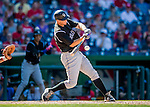 28 August 2016: Colorado Rockies infielder DJ LeMahieu in action against the Washington Nationals at Nationals Park in Washington, DC. The Rockies defeated the Nationals 5-3 to take the rubber match of their 3-game series. Mandatory Credit: Ed Wolfstein Photo *** RAW (NEF) Image File Available ***