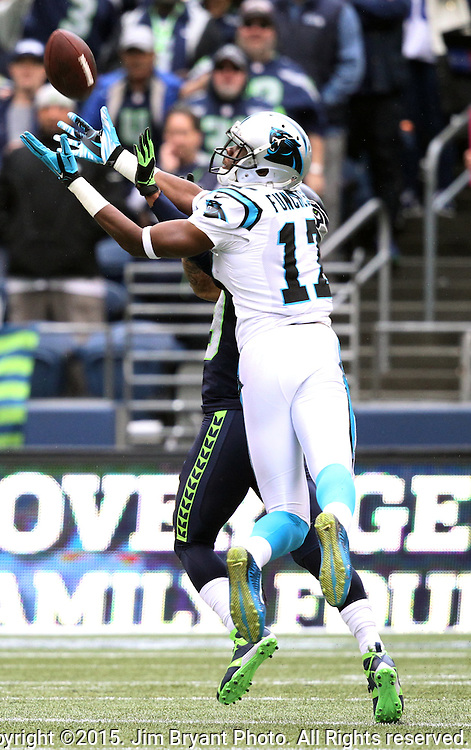 Seattle Seahawks safety Earl Thomas (29) defends against Carolina Panthers wide receiver Devin Funchess (17) at CenturyLink Field in Seattle on October 18, 2015. The Panthers came from behind with 32 seconds remaining in the 4th Quarter to beat the Seahawks 27-23.  ©2015 Jim Bryant Photography. All Rights Reserved.