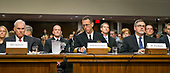 """From left to right: United States Secretary Of The Navy Richard V. Spencer; Admiral John M. Richardson, USN, Chief Of Naval Operations; and John H. Pendleton, Director, Defense Force Structure And Readiness Issues, Government Accountability Office, testify before the US Senate Committee on Armed Services on """"Recent United States Navy Incidents at Sea"""" on Capitol Hill in Washington, DC on Tuesday, September 19, 2017. The hearing is investigating the two separate collisions with the USS Fitzgerald and USS John S. McCain that resulted in the loss of 17 US Sailors.<br /> Credit: Ron Sachs / CNP"""