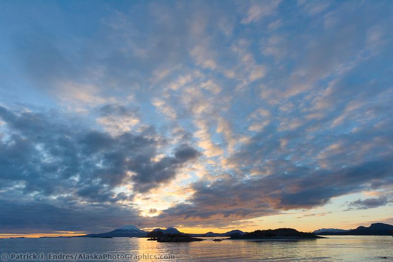 View of mountEdgecumbe across Sitka Sound at sunset, Southeast, Alaska.