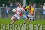 Cathal OLuing Chorca Dhuibhnegoes past Sean O'Sullivan De La Salle in Knocknagree on Sunday