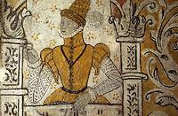 Europe/France/Auvergne/15/Cantal/Tournemire: Château d'Anjony: détail des fresques fin 16 e S de la salle des chevaliers représentant Michel D'anjony