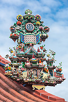 George Town, Penang, Malaysia. Taoist Roof Decoration,  Goddess of Mercy Temple, Kuan Yin Teng, Kong Hock Keong.