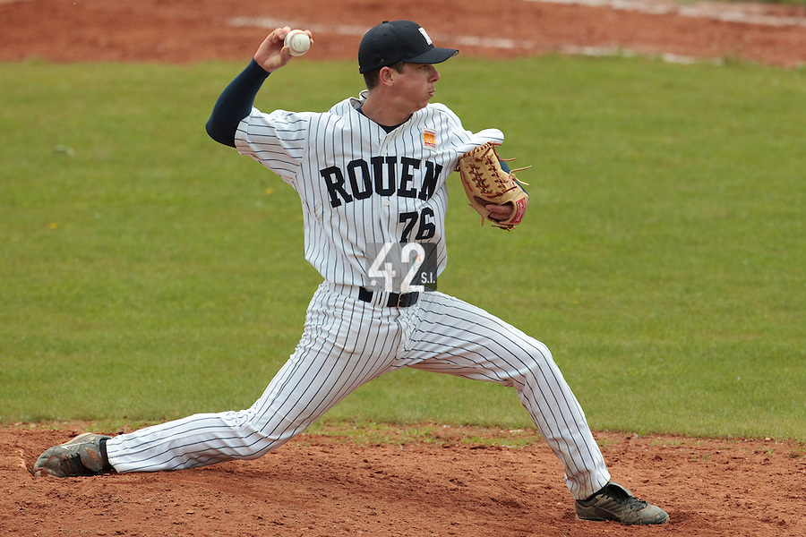 04 June 2010: Anthony Piquet of Rouen pitches against Heidenheim Heidekopfe during the 2010 Baseball European Cup match won  20-7 by Heidenheim Heidekopfe over the Rouen Huskies, at the Kravi Hora ballpark, in Brno, Czech Republic.