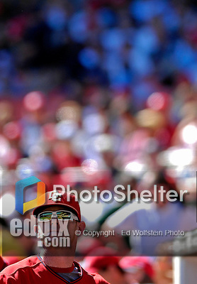 23 September 2007: Washington Nationals first baseman Robert Fick looks out of the dugout during a break in the action against the Philadelphia Phillies at Robert F. Kennedy Memorial Stadium in Washington, DC. The Nationals defeated the Phillies 5-3 in the historic last professional baseball game played at RFK Stadium.. .Mandatory Photo Credit: Ed Wolfstein Photo