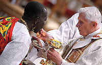 Pope Benedict XVI during an ordination mass at St Peter's basilica at the Vatican on April 29, 2012
