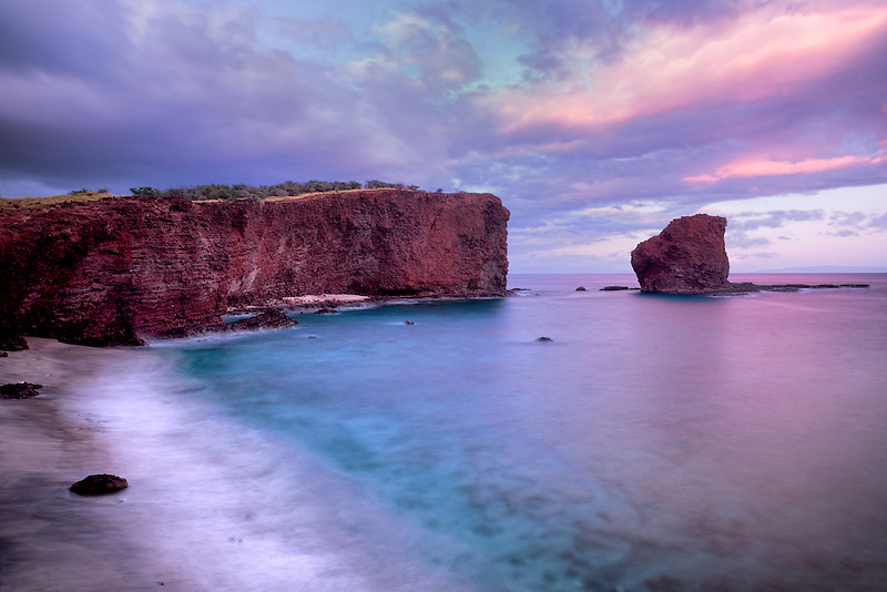 Sweetheart Rock at sunset. Lanai, Hawaii