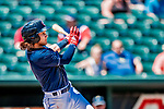 18 July 2018: New Hampshire Fisher Cats infielder Bo Bichette in action against the Trenton Thunder at Northeast Delta Dental Stadium in Manchester, NH. The Thunder defeated the Fisher Cats 3-2 concluding a previous game started April 29. Mandatory Credit: Ed Wolfstein Photo *** RAW (NEF) Image File Available ***