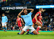 9th January 2018, Etihad Stadium, Manchester, England; Carabao Cup football, semi-final, 1st leg, Manchester City versus Bristol City; Raheem Sterling of Manchester City cannot believe he missed a goal opportunity