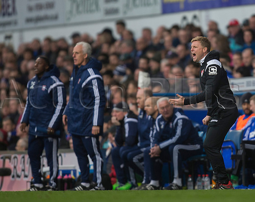 03.04.2015.  Ipswich, England. Skybet Championship. Ipswich Town versus AFC Bournemouth. Eddie Howe, the Bournemouth manager shouts instructions from the sideline.