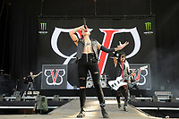 DERBY, ENGLAND - JUNE 10: Andy Biersack and Ashley Purdy of 'Black Veil Brides ' performing at Download Festival, Donington Park on June 10, 2018 in Derby.<br /> CAP/MAR<br /> &copy;MAR/Capital Pictures