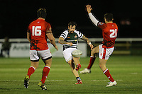 Aaron Penberthy of Ealing Trailfinders (centre) kicks a drop goal to make the score 16-11 and seal victory  during the Greene King IPA Championship match between Ealing Trailfinders and London Welsh RFC at Castle Bar , West Ealing , England  on 26 November 2016. Photo by David Horn / PRiME Media Images