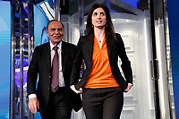 Bruno Vespa and Virginia Raggi mayor of Rome<br /> Rome March 20th 2019. The mayor of Rome appears as a guest on the tv show Porta a Porta.<br /> Foto Samantha Zucchi Insidefoto