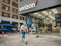 A Verizon Wireless store in New York on Wednesday, April 26, 2017.  Verizon recently reported its first-ever loss of subscribers during the first-quarter as consumers left for other carriers. (© Richard B. Levine)
