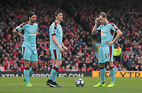 (from left) Burnley's George Boyd, Joey Barton and Scott Arfield<br /> <br /> Photographer Rich Linley/CameraSport<br /> <br /> The Premier League - Liverpool v Burnley - Sunday 12 March 2017 - Anfield - Liverpool<br /> <br /> World Copyright &copy; 2017 CameraSport. All rights reserved. 43 Linden Ave. Countesthorpe. Leicester. England. LE8 5PG - Tel: +44 (0) 116 277 4147 - admin@camerasport.com - www.camerasport.com