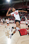 Wisconsin Badgers Alexis Mitchell (10) hits the ball during warmups prior to an NCAA volleyball match against the Michigan Wolverines at the Field House on October 30, 2010 in Madison, Wisconsin. Michigan won the match 3-1. (Photo by David Stluka)