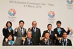 (L to R) Mikako Kotani, Aki Taguchi, Yuki Ota, Tsunekazu Takeda, Mitsunori Torihara,  Naoki Inose, Masato Mizuno, Yuko Arakida, Hakubun Shimomura, MARCH 7, 2013 : Tokyo Governor Naoki Inose and Tokyo 2020 bid Committee member attend a Press conference about presentations of Tokyo 2020 bid Committee in Tokyo, Japan. (Photo by Yusuke Nakanishi/AFLO SPORT).