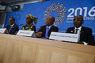 Washington, DC - April 16, 2016: African finance ministers hold a press briefing at the IMF-HQ2 building during the IMF/World Bank Spring Meetings, April 16, 2016. L-R: Mohammed Aden Ibrahim, Minister of Finance, Somalia; Rosine Sori-Coulibaly, Minister of Finance, Burkina Faso; Martin Dlamini, Minister of Finance, Swaziland; Mahamat Allamine Bourma Treye, Minister of Finance, Chad.  (Photo by Don Baxter/Media Images International)