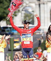 Alberto Contador with the red jersey celebrates the victory in the Overall Standing on Time of La Vuelta 2012.September 9,2012. (ALTERPHOTOS/Acero)