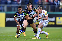 Sam Burgess of Bath Rugby wrestles the ball away from Matt Jess of Exeter Chiefs. Aviva Premiership match, between Bath Rugby and Exeter Chiefs on October 17, 2015 at the Recreation Ground in Bath, England. Photo by: Patrick Khachfe / Onside Images