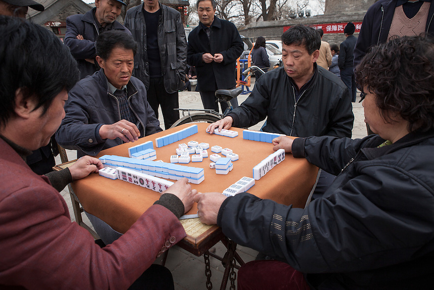 Gamblers around the Drum Tower, Beijing.