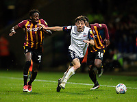Bolton Wanderers' Callum King-Harmes (centre) breaks away from Bradford City's Omari Patrick (left) and Jermaine Anderson <br /> <br /> Photographer Andrew Kearns/CameraSport<br /> <br /> EFL Leasing.com Trophy - Northern Section - Group F - Bolton Wanderers v Bradford City -  Tuesday 3rd September 2019 - University of Bolton Stadium - Bolton<br />  <br /> World Copyright © 2018 CameraSport. All rights reserved. 43 Linden Ave. Countesthorpe. Leicester. England. LE8 5PG - Tel: +44 (0) 116 277 4147 - admin@camerasport.com - www.camerasport.com