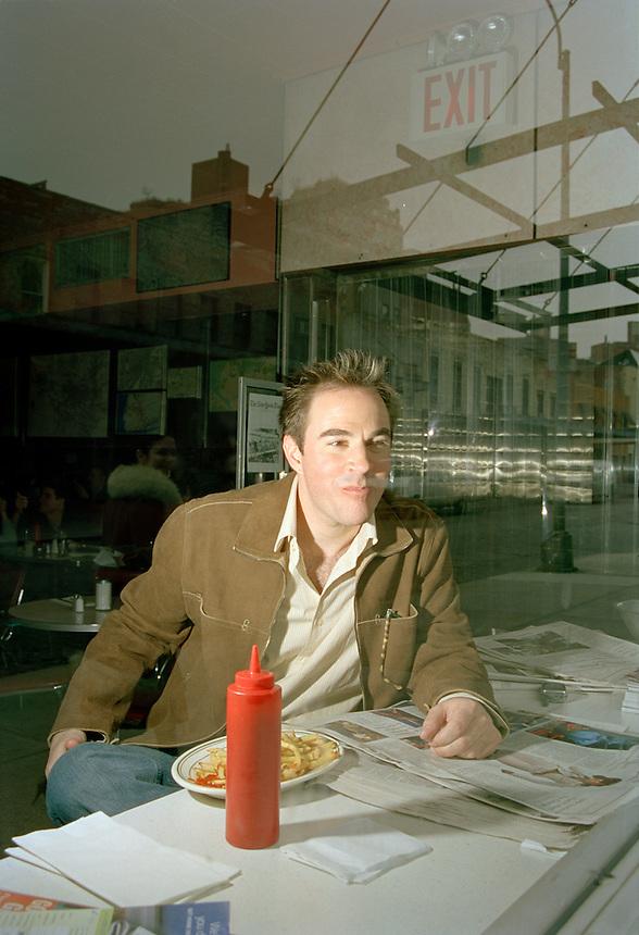 actor Roger Bart at Restaurant Florent, NYC, 2004