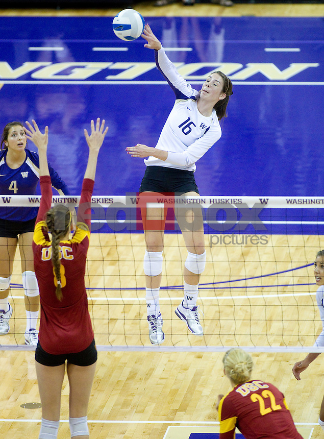 Jenna Orlandini. Krista Vansant. The University of Washington women's volleyball team plays USC Trojans at Alaska Airlines Arena at the University of Washington in Seattle on Friday September 16, 2011. (Photography By Scott Eklund/Red Box Pictures)