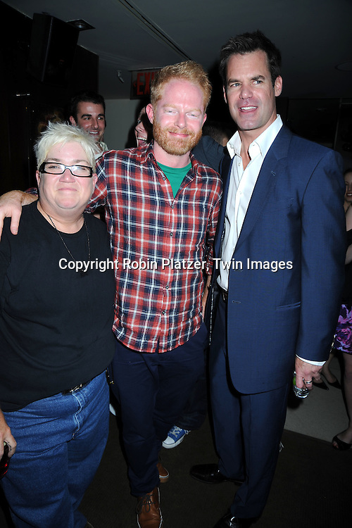 "Lea Delaria, Jesse Tyler Ferguson and Tuc Watkins at The opening night party of ""White's Lies"" on May 6, 2010 at Inc Lounge in New York City. The show stars Betty Buckley, Tuc Watkins, Peter Scolari and Christy Carlson Romano."