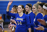 Marymount's Erin Allison gets announced before a college volleyball match against PSU Harrisburg at Marymount University in Arlington, Vir., on Wednesday, Oct. 9, 2013.<br /> Photo by Cathleen Allison