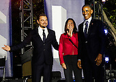 United States President Barack Obama, Leonardo DiCaprio and Dr. Katharine Hayhoe arrive for a panel discussion  on climate change as part of the White House South by South Lawn (SXSL) event about the importance of protecting the one planet we've got for future generations, on the South Lawn of the White House, Washington DC, October 3, 2016. <br /> Credit: Aude Guerrucci / Pool via CNP