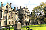 Graduates Memorial building and George Salmon statue, Trinity College university, city of Dublin, Ireland, Irish Republic