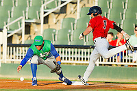 Lexington Legends first baseman Mark Threlkeld (26) can't handle a low throw as Kale Kiser (9) of the Kannapolis Intimidators lunges for first base at CMC-Northeast Stadium on July 29, 2013 in Kannapolis, North Carolina.  The Intimidators defeated the Legends 10-5.  (Brian Westerholt/Four Seam Images)