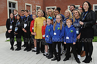 Swansea University, South Wales, UK, Saturday 14th Oct 2017 - <br /> <br /> Hillary Rodham Clinton was today in attendance at Swansea University, where she received an Honorary Doctorate of Laws. Hillary Clinton with the Narbeth CP school from Pentrehafod, Blaen-y-Maes, Swansea.<br /> <br /> Jeff Thomas Photography -  www.jaypics.photoshelter.com - <br /> e-mail swansea1001@hotmail.co.uk -<br /> Mob: 07837 386244 -