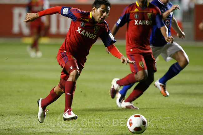 Chris Detrick  |  The Salt Lake Tribune .Real Salt Lake forward Paulo Araujo Junior #23 scores a goal during the first half of the game at Rio Tinto Stadium Tuesday October 19, 2010.  Real Salt Lake is winning the game 1-0..