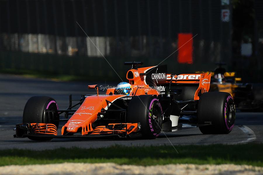 March 26, 2017: Fernando Alonso (ESP) #14 from the McLaren Honda Formula 1 team at the 2017 Australian Formula One Grand Prix at Albert Park, Melbourne, Australia. Photo Sydney Low