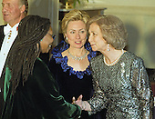 Actress Whoopi Goldberg, left, is introduced to Queen Sofia of Spain, right, by First Lady Hillary Rodham Clinton, center, as she passes through the receiving line in the Grand Foyer of the White House prior to the State Dinner honoring the Queen and King Juan Carlos I of Spain on February 23, 2000 in Washington, D.C.<br /> Credit: Ron Sachs / CNP